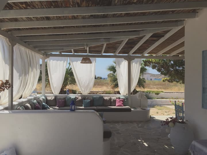 House with 6 bedrooms in Ios, with wonderful sea view, enclosed garden and WiFi - 100 m from the beach