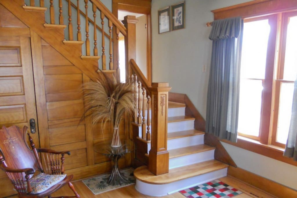 Foyer and double staircase