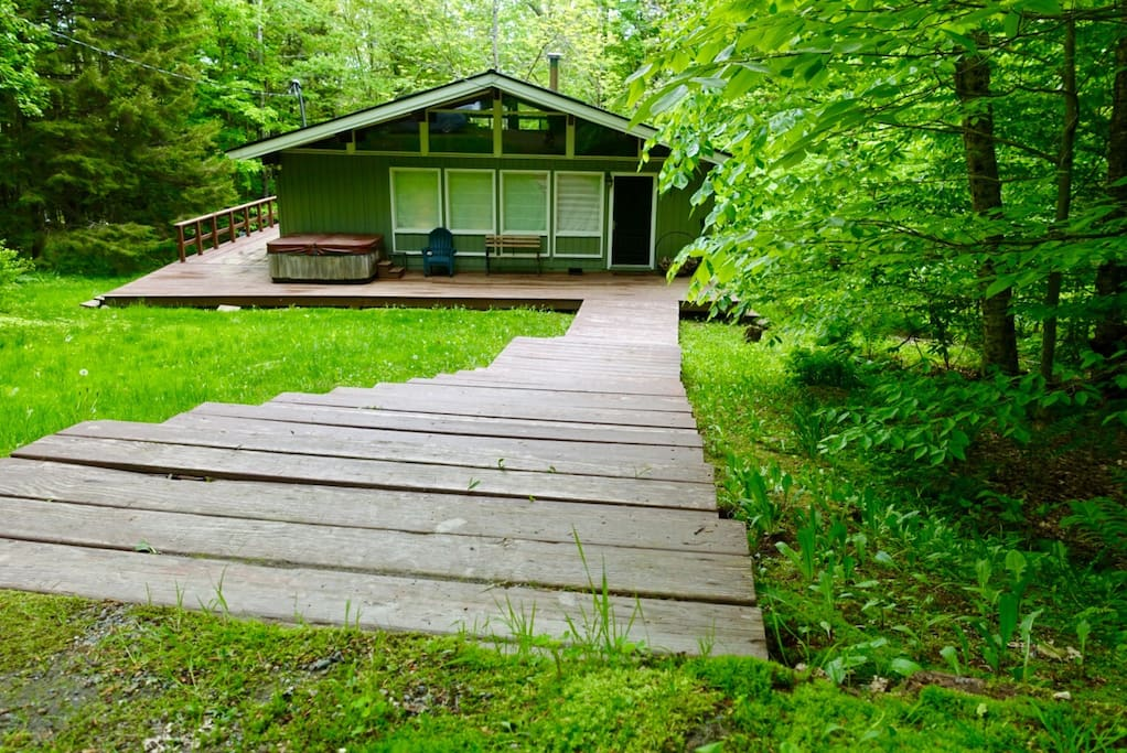 Steps from the parking spot to the cabin in spring. It's so green!!