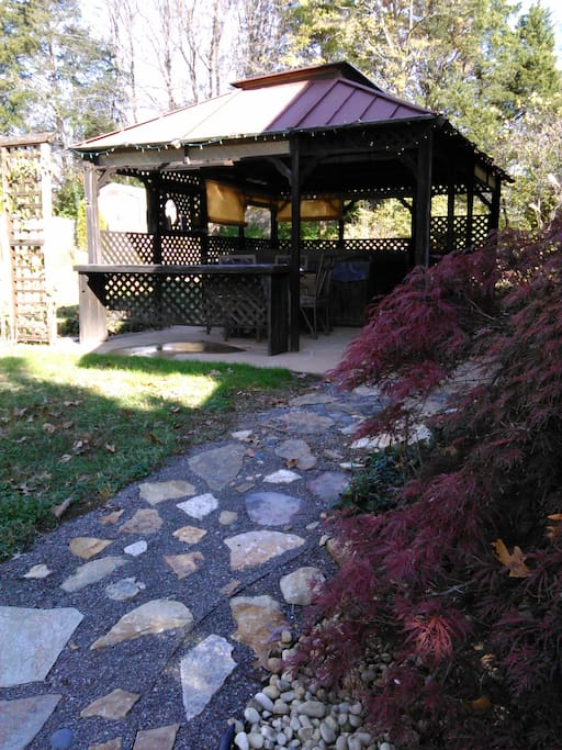 rock path to gazebo - the gazebo provides a sheltered outdoor living space