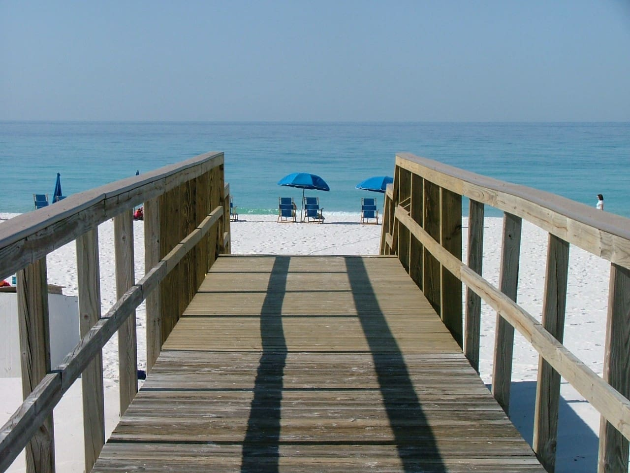 Just a short stroll to the beach.  This condo is right on the beach, so no streets to cross.