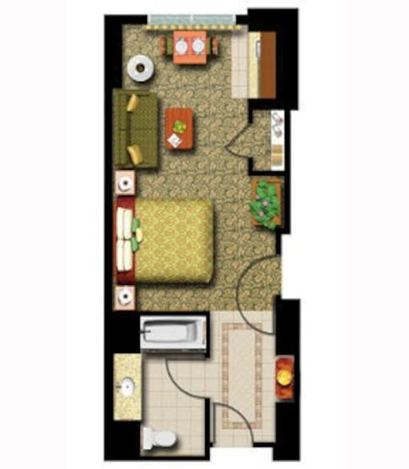 Studio layout  435 sq ft