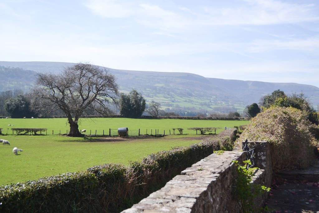 The view down the lane towards Crickhowell