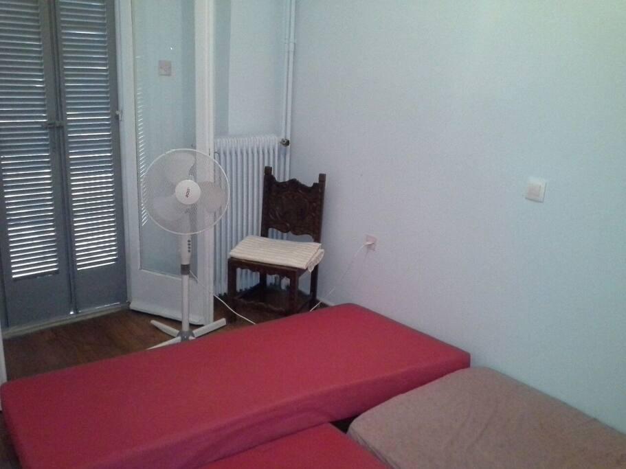 The room at its max capacity: Three matresses
