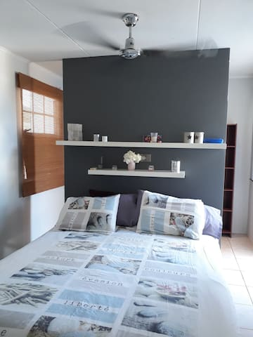 Master bedroom with a walk through closet in back and a door to the back garden.