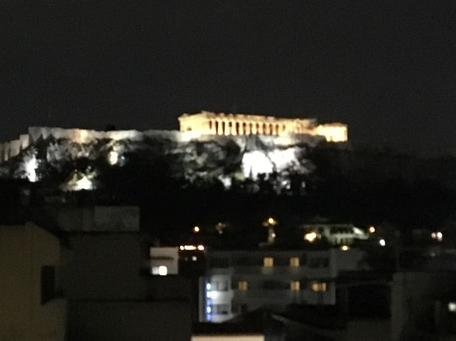 night view of Acropolis from balcony