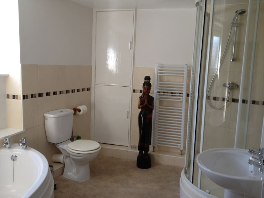 Large family bathroom - corner bath and double shower