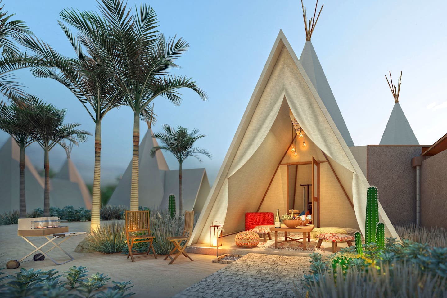 Our deluxe teepee-style tents embody comfort at its finest with a luxurious enclosed patio, private en-suite bathroom, and comfortable linens in our spacious bedroom.