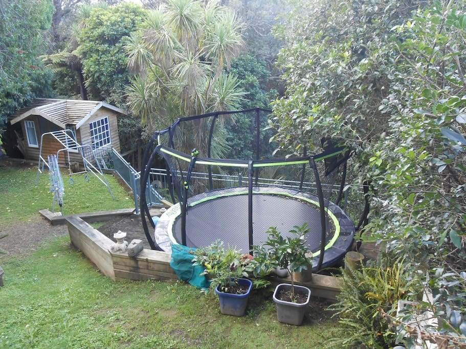 Backyard with trampoline, clothesline, climbing frame and owners Nikau Cabin.