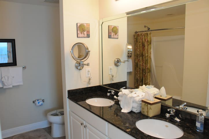 Master Bathroom with Double Sinks, Granite Counter Top, Comfort Height Toilet and Ultra Plush Towels