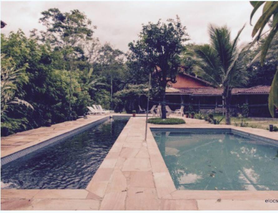 Foto piscina natural e clorada