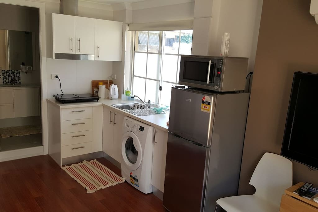 Kitchenette with Induction cooktop.  Front load washing machine.