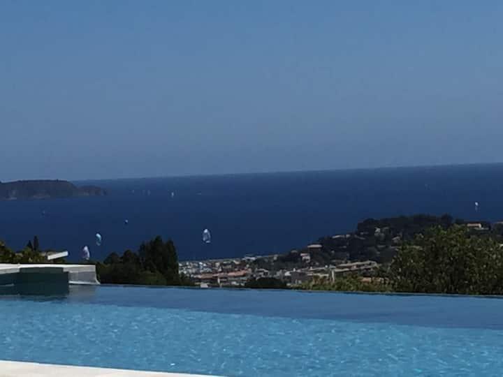 Villa vue mer panoramique, piscine chauffée à 28°