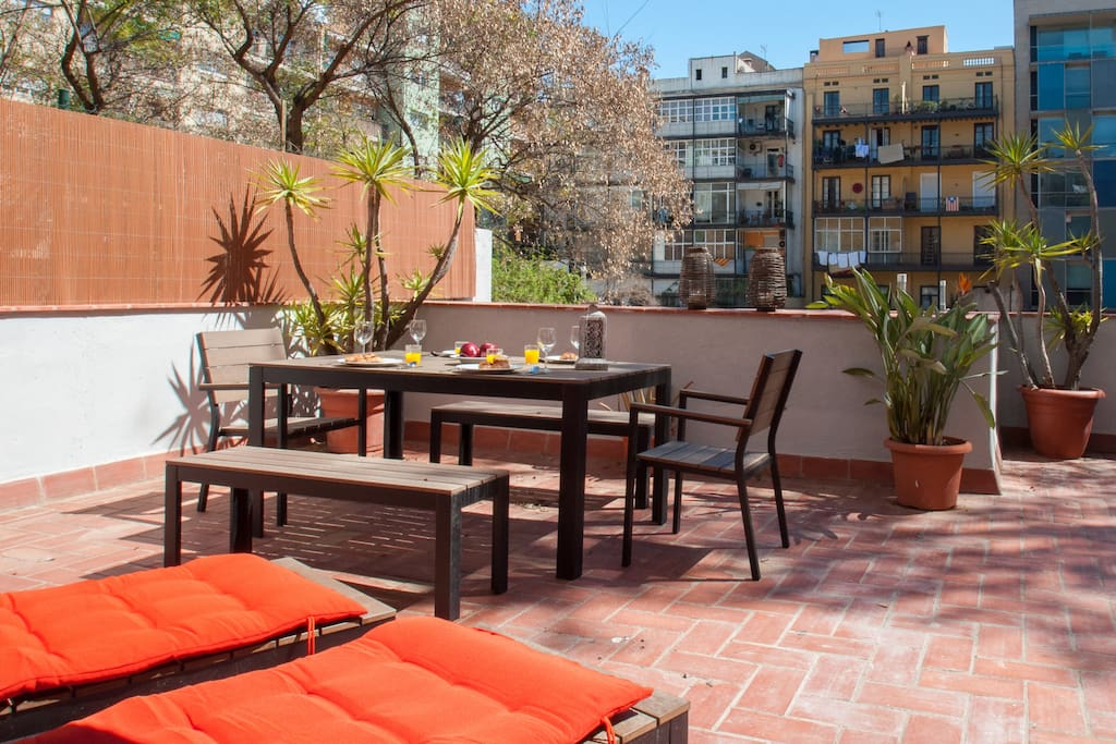 Terrace great design apartment in the center for Location appartement design barcelone