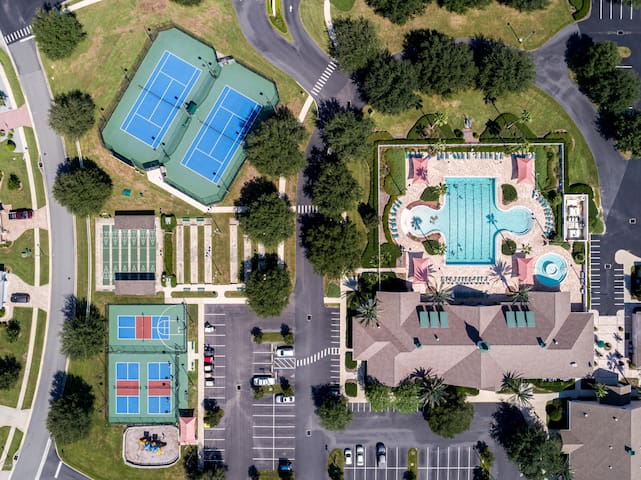 Community pool and outdoor courts