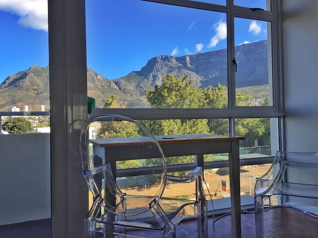 Working desk/space with a view of table mountain