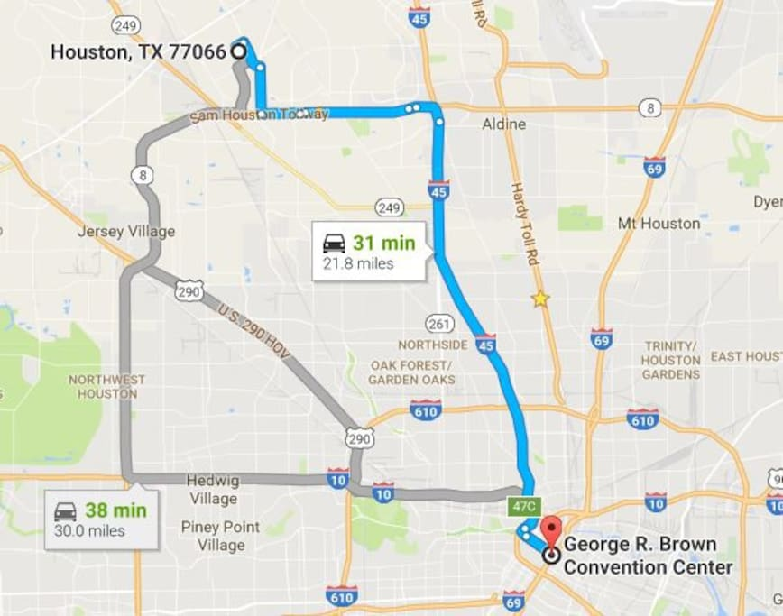 Approximate distance and travel time to downtown