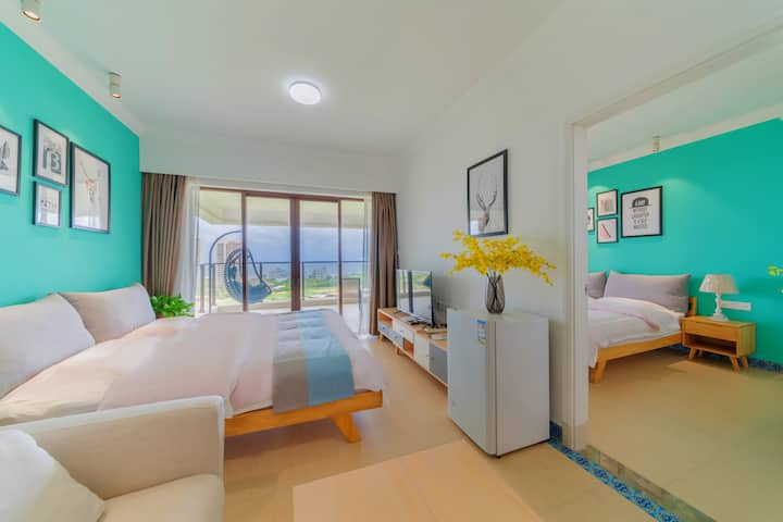 【Miracle】极品海景民宿-保利十里银滩180度高层海景双大床一房一厅套房