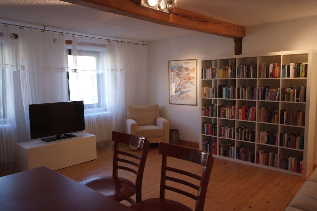 Wohnzimmer mit SAT-TV, WLAN und Bibliothek