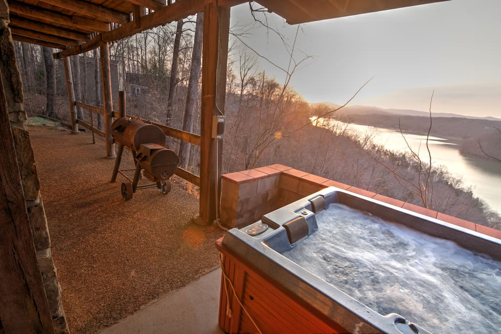 Marvel at scenic views from the cozy deck.