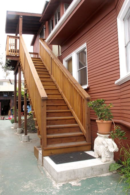 Staircase access to the studio