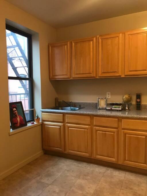 Kitchen with big window