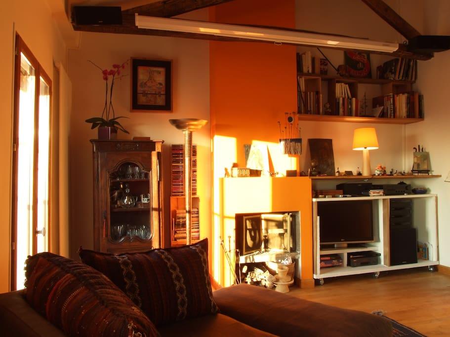 Salon équipée d'un système de Home Cinema avec grand écran