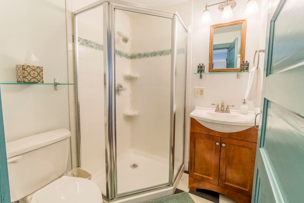 The new private bathroom offers a corner walk-in shower for easy access.