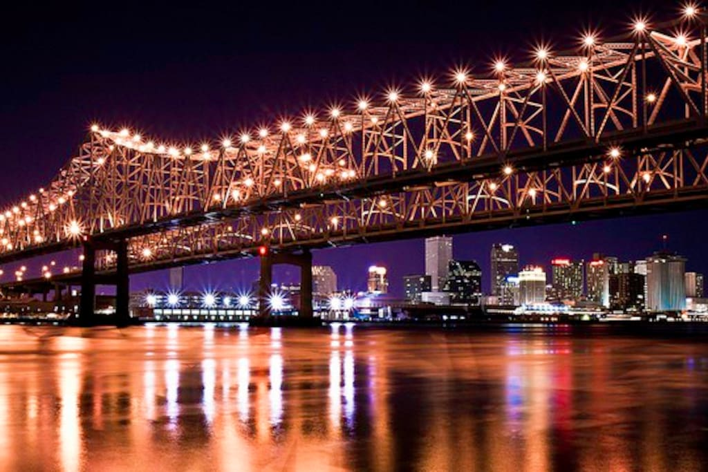 The Mississippi River and downtown New Orleans from my side of the river