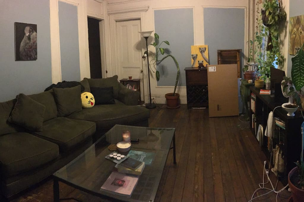 Panoramic view of the large living room-apologies for the boxes stored temporarily in the corner in this picture!