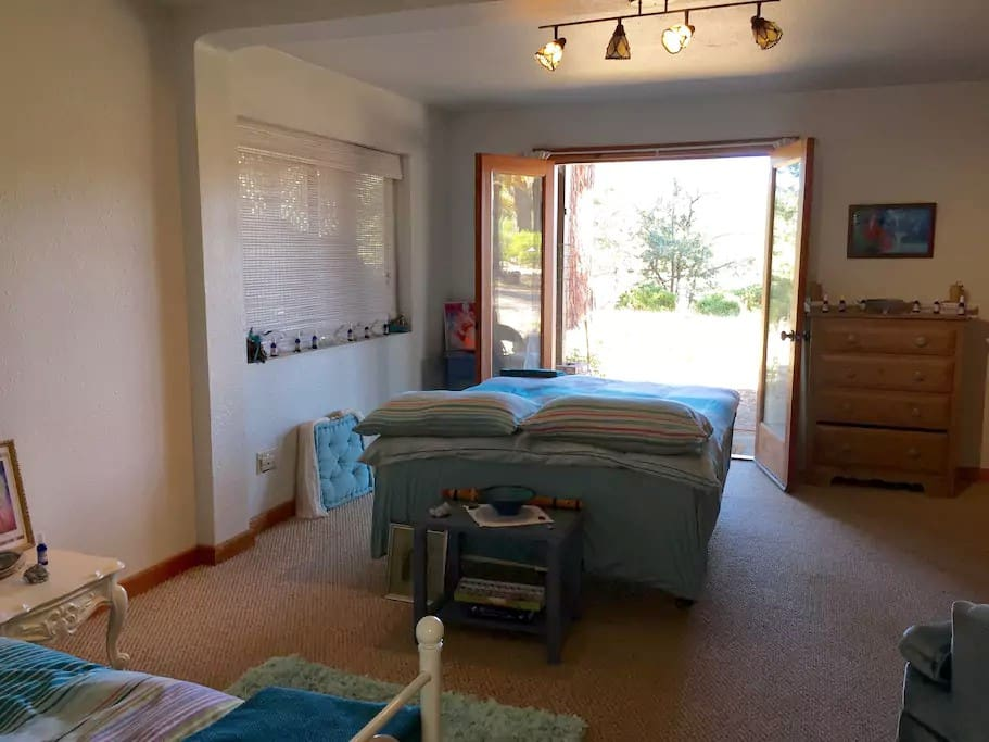 Beautiful sunny ground floor room with large cupboard space.