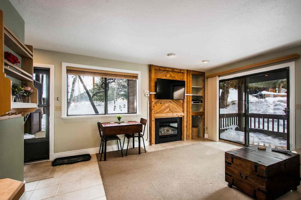 "The living area is fully furnished with large living room furniture, which can second as a sleeper sofa, a gas fireplace and a 45"" HDTV with entertain"