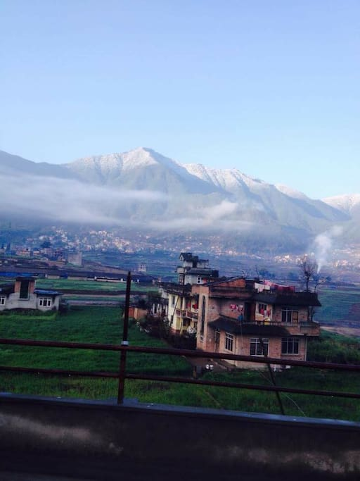 View of snow clad Chandragiri hill-the only cable car in Kathmandu Valley