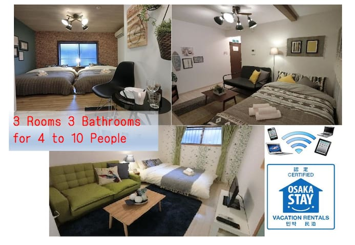 Osaka 4min Sta, 3BR 3Bath 3toilet. Local living