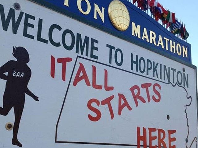 Hopkinton-2 miles from Boston Marathon start line.
