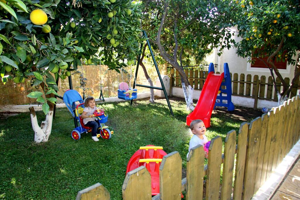 Children playground in family guesthouse in Tolo next to Nafplio