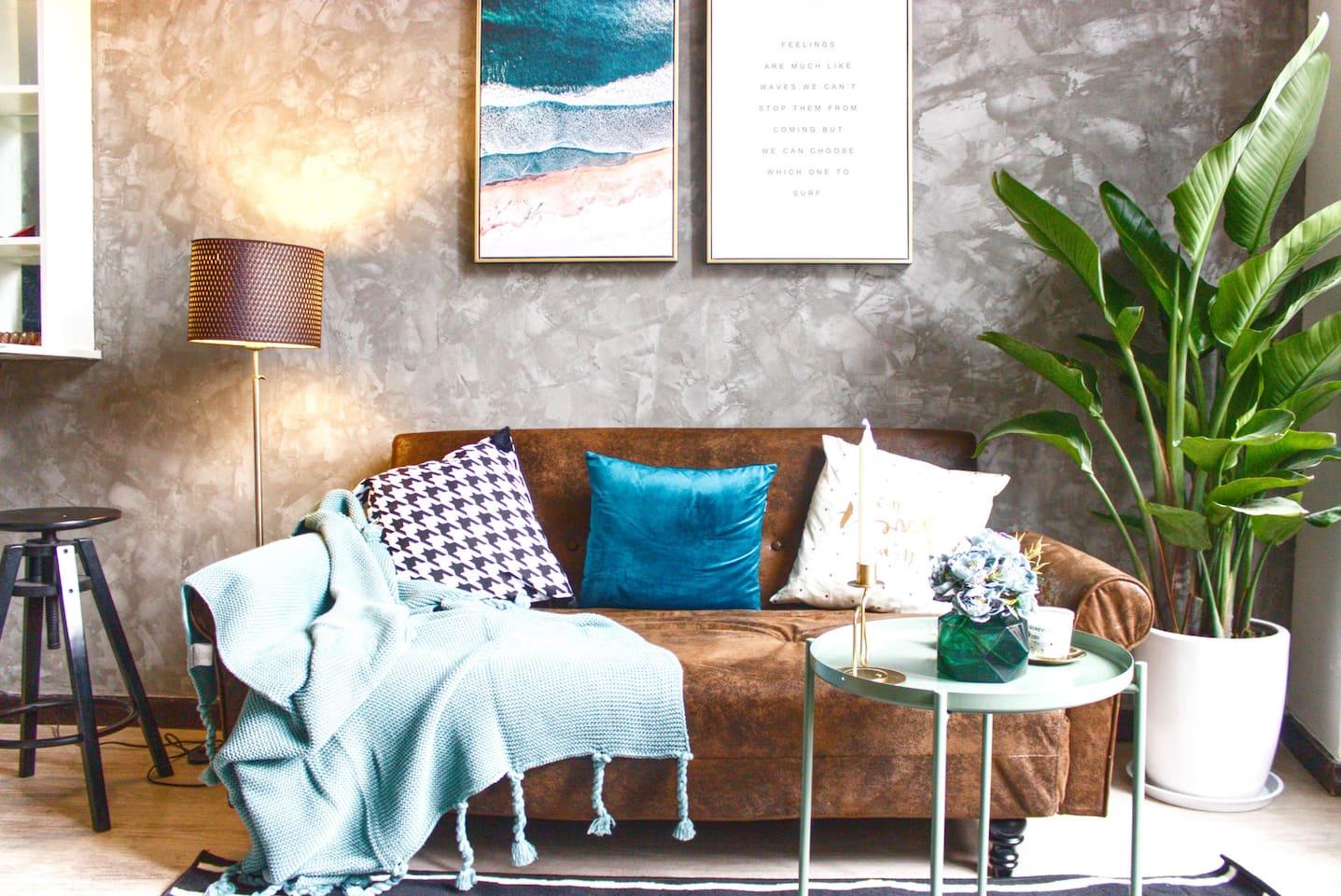 复古北欧风 沙发在2人以上入住时可变1.5*2m沙发床