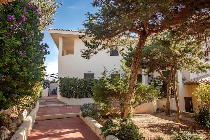 Appartement de vacances Capo Testa près des plages avec terrasse et climatisation ; parking disponible, animaux domestiques autorisés