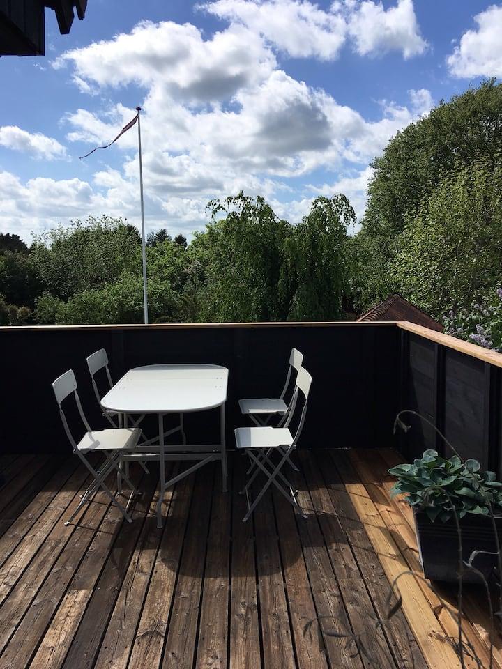 Værelse med tagterrasse og mulighed for sauna