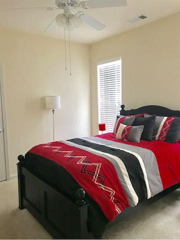 This is the very clean, comfortable, and spacious private bedroom with an attached private bathroom guests will book for their stay.