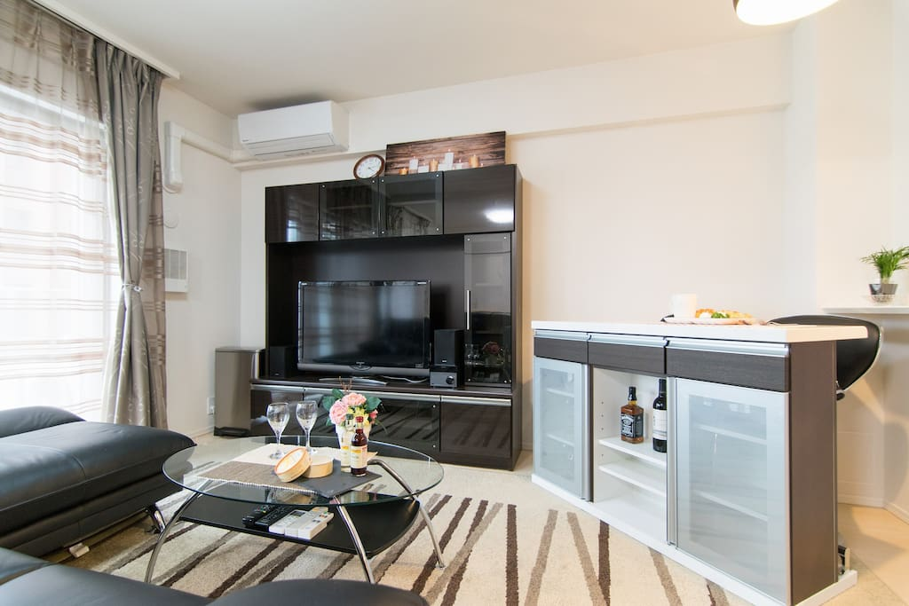 Living room is quite convenient and equipped with many utilities.