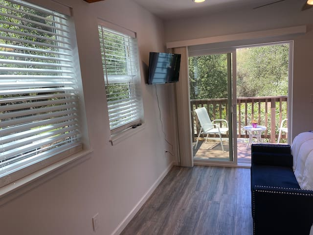 """Bedroom features a 32"""" Roku TV and balcony with views."""