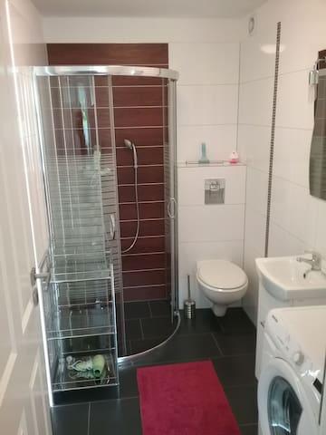 Łazienka z prysznicem i pralką