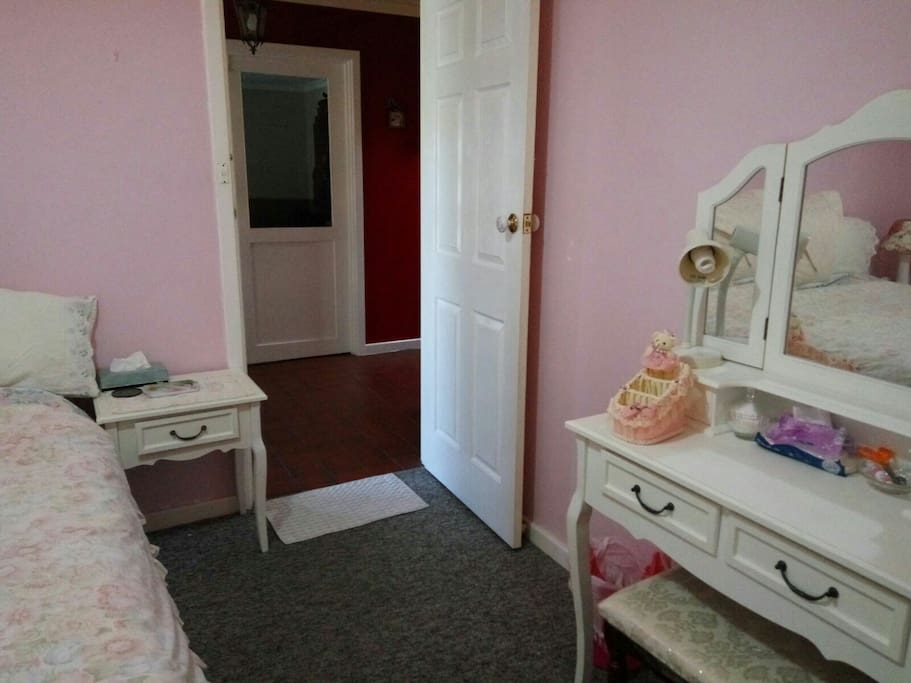 Large comfy queen size with dressing table and plenty of wardrobe space