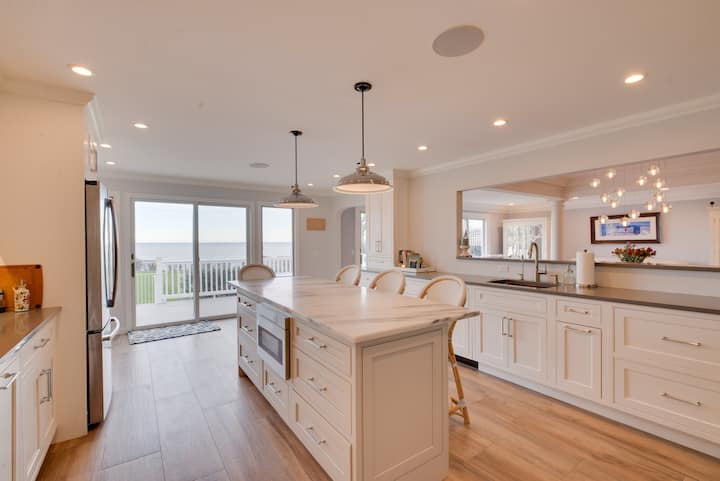 Large waterfront home with private beach access