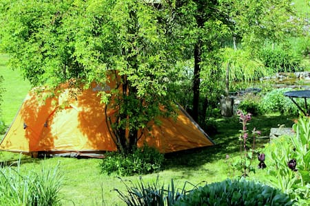 Private camping yard in beautiful garden. - Tent
