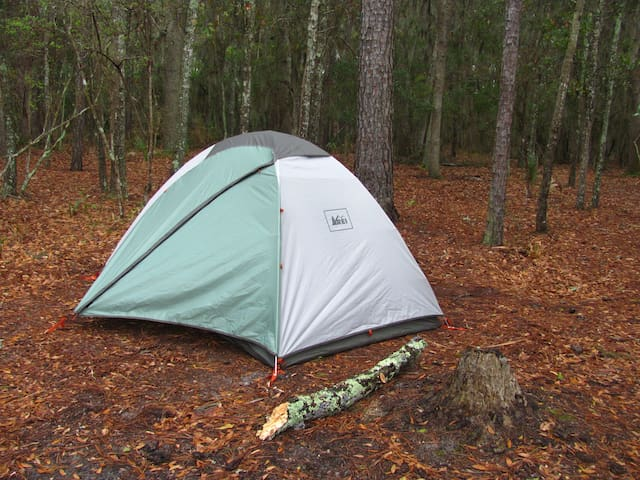 We selected this REI tent for its ease of setup and durability.  There are only two poles, which allows the tent to be setup in under 10 minutes.