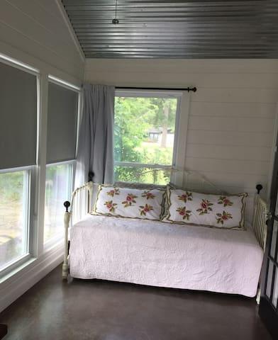 Trundle bed, (two twin), multi- season porch.