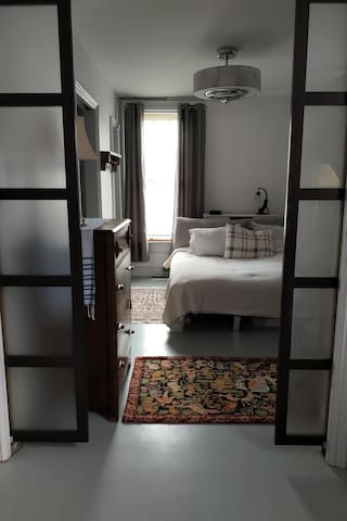 Privacy doors - from dining area-office to bedroom