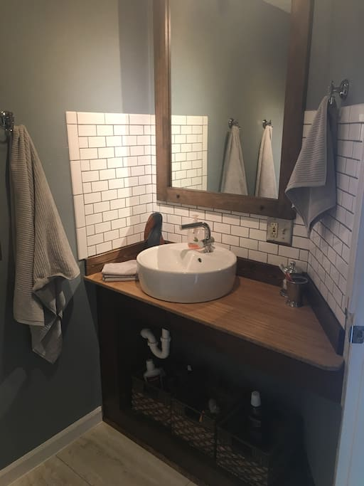 Updated bathroom with stall shower